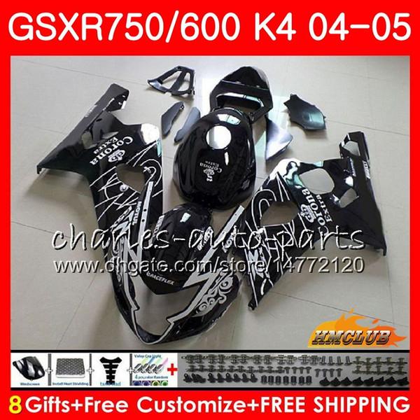 Cuerpo Para SUZUKI GSXR 750 GSX R600 R750 Negro CORONA caliente GSXR600 2004 2005 7HC.31 GSXR 600 GSXR-750 04 05 GSX-R600 K4 GSXR750 04 05 Carenados