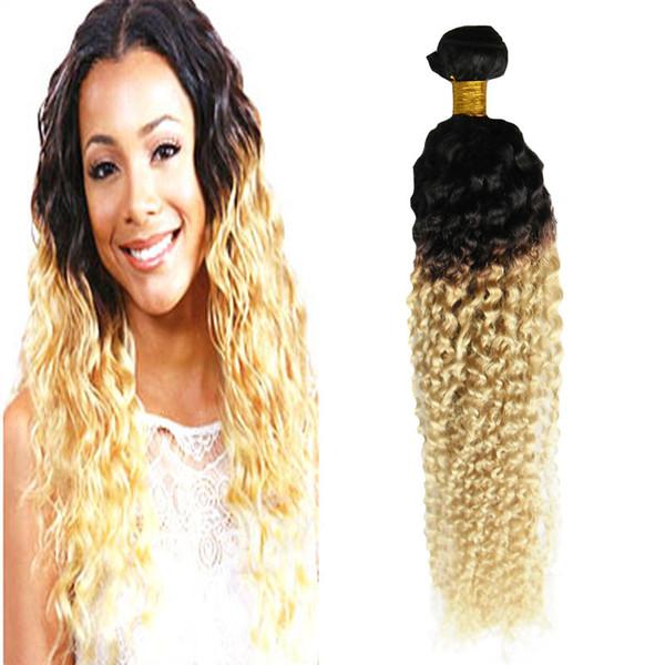 Ombre Brazilian Hair 1B/613 Kinky Curly Bundles Weave Human Hair Extensions 100g Curly Weave Extensions Remy Human Hair Bundles
