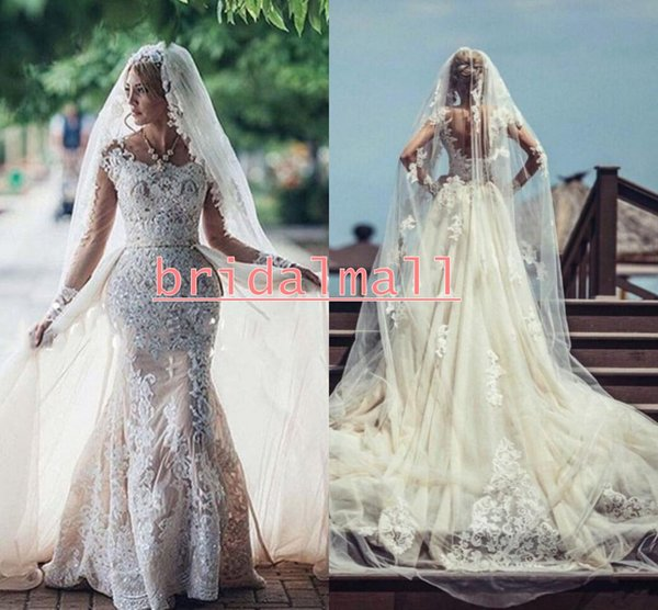 Scoop African Style Overskirts Wedding Dresses Tulle And Lace Long Sleeves Lace Wedding Dress Long Train Back Lace Up Elegant Bridal Gowns