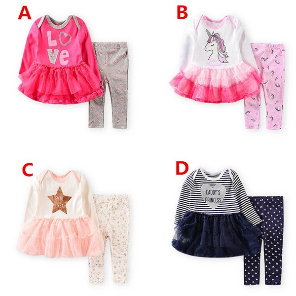 Unicorn Baby girls suits newborn outfits tutu dress romper+leggings 2pcs newborn baby girl clothes baby infant girl designer clothes A6493