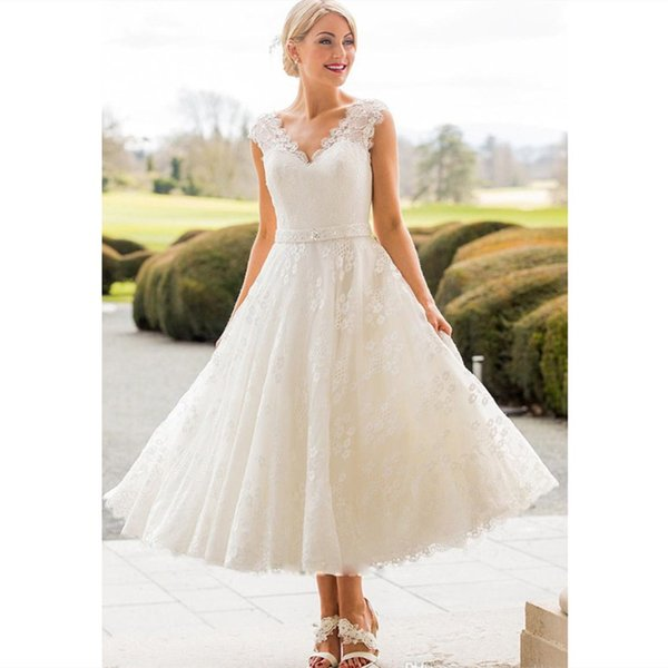 2019 Elegant White Lace Country Wedding Dresses Simple Tea Length V Neck Beach Bridal Gowns Cap Sleeves Custom Plus Size Wedding Gowns