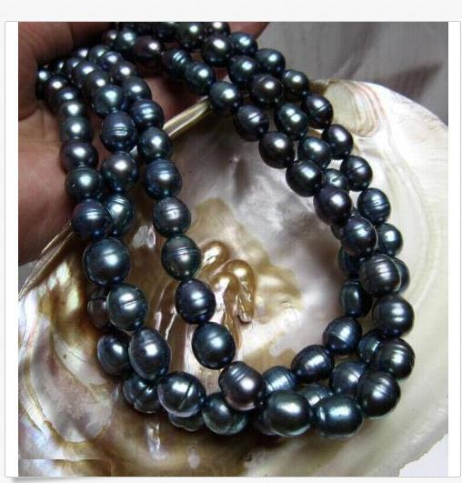 HUGE 13MM NATURAL SOUTH SEA GENUINE BLACK PEARL NECKLACE 35 INCH 14K GOLD CLASP