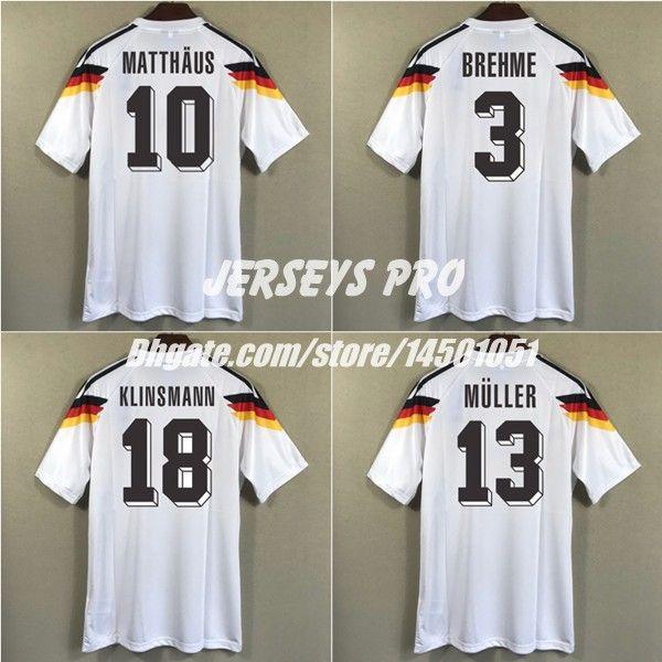 on sale 8b196 db825 2019 Alemania Germany World Cup 1990 Retro Soccer Jersey Football Shirt  Classical Jersey Gerd Muller Klinsmann Lothar Matthaus Brehme Beckenbauer  From ...