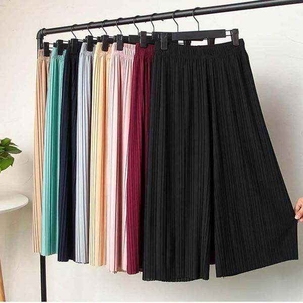 Mode frauen Hohe Taille Rüschen Chiffon-Breitbeinhosen Plissee Lose Ausgestelltes Hosen Hose Rock Für Frauen Pantalones