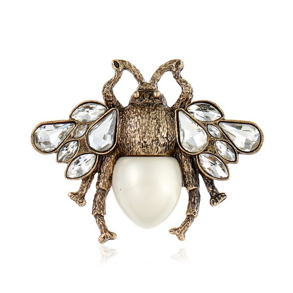 Cute Clear Crystal Imitation Pearl Insect Bee Brooches for Women Charming Alloy Vintage Brooch Pin Jewelry Accessories