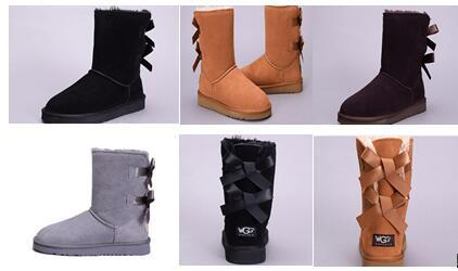 Winter Australia Classic Snow Boots High Quality WGG tall boots leather Bowknot women's bailey bow Knee Boots shoes size US 5-10