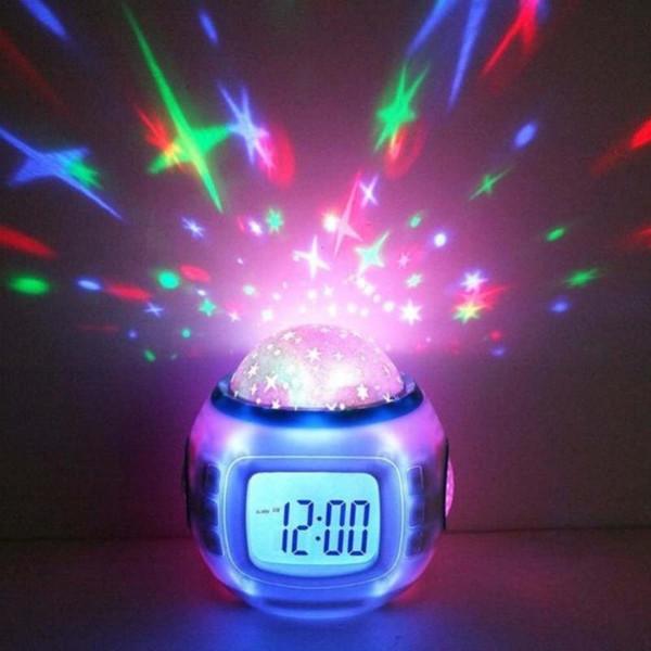 Projector Luz música Starry Estrela Snooze Alarm Clock Kids Room Calendário