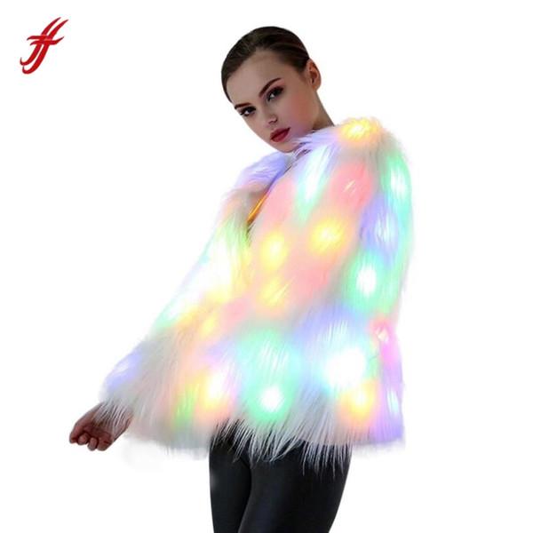 Le donne di Natale LED LED cappotto di pelliccia costumi di scena locale notturno Outwear Dancer O-collo giacche bianche cappotto quotidiano casual party