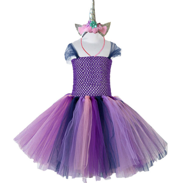Unicorn girls dresses Tutu Princess Dresses+Unicorn headband birthday party Pettiskirt Kids Dresses kids designer clothes kids dress A4484