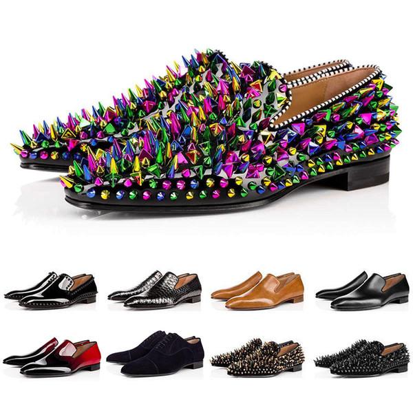Christian Louboutin Red Bottoms CL shoes  Luxury Bottom Дизайнер Red Bottoms шипованных Шипы Марка Mens платье обувь кожа мужчины партии Свадебные Lover спортивные кроссовки 39-47
