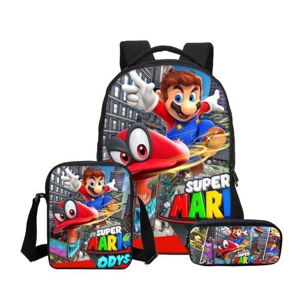 New Brand 3Pc/Set School Bag For Boys Girls Fashion Cartoon Super Mario Printing School Bag Kids Bookbag Casual Shoulder