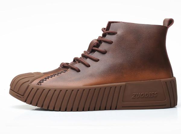 YENI deri rahat ayakkabılar Tasarımcı sneakers erkekler Düz ayakkabı hakiki deri moda Siyah Kahverengi çizme