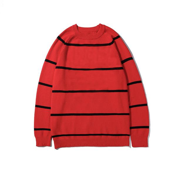 Roter Pullover Herren Damen Luxus Pullover Pullover Modedesigner Marke Kontrast Streifen Rundhals Langarm Pullover Top Qualität B100272V