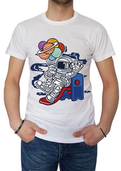 fm10 camiseta de hombre espacio Deslizador astronauta globos ovni regalo cartoon