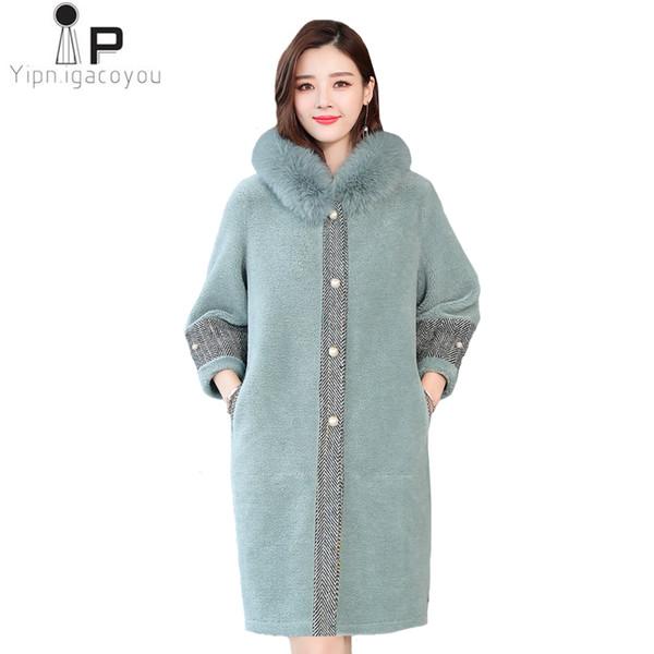 Fox Fur Collar Hooded Long Faux Fur Jacket Women Winter Plus Size Nine Quarter Sleeve Warm Coat Sheep Shear Hair Fake Coat