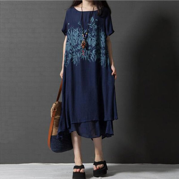 2017 New Arrival Women Summer Print Dress Loose Causl False Two Pieces Short Sleeve O-neck Slim Cotton Linen Long Dress Female