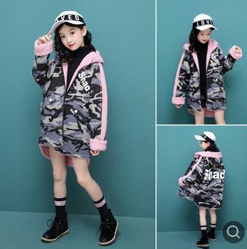girls winter coat 120-170cm new 2018 thick warm fleece inside denim girls winter jacket with hood kids overcoat blue jean