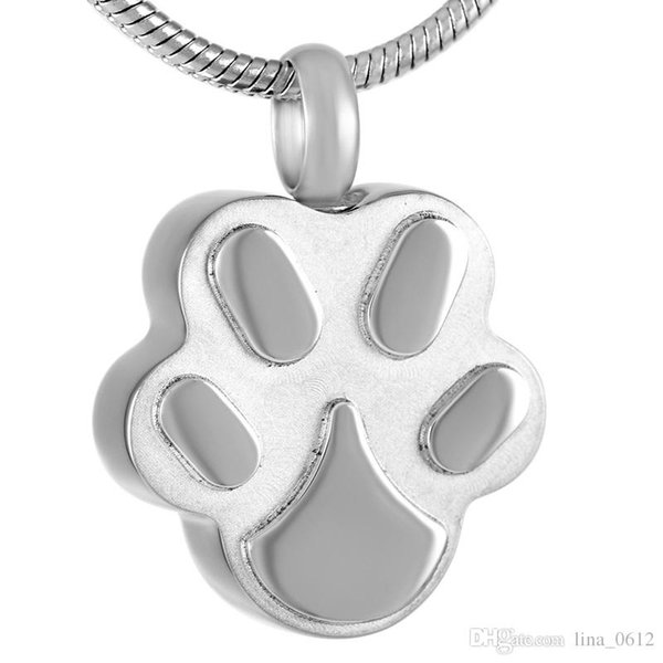 IJD9292 Silver/Gold/Rose Gold/Black Dog Paw Stainless Steel Cremation Urn Jewelry Pendant Hold Ashes Keepsake Memorial Jewellery