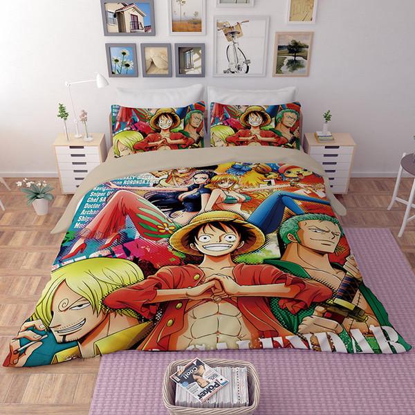 Edredon Anime.2019 Llancl Cartoon Japan Anime One Piece Printed Quilt Duvet Comforter Cover Adult Bedroom Polyester Fiber Christmas Gift Luffy Duvet Cover From