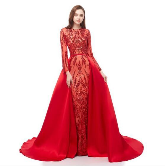 Zuhair Murad 2019 Red Mermaid Prom Dresses Detachable Train Custom Made Celebrity Evening Gowns Illusion Long Sleeves Lace Sequin Party Gown