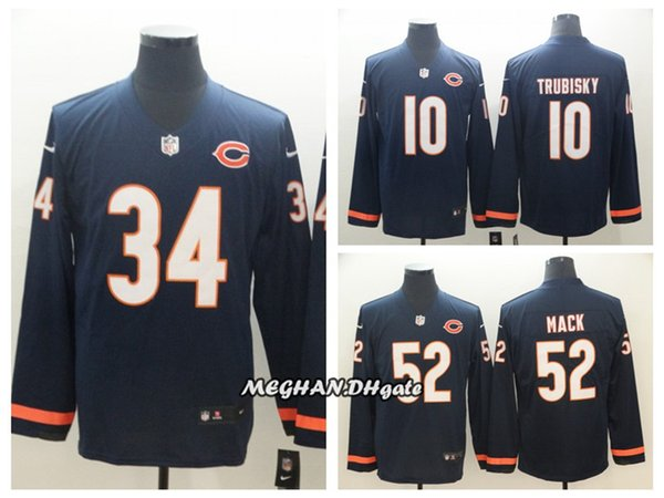 0f05f9b86d2 Men Women Chicago Bears 34 Walter Payton Jersey 10 Mitchell Trubisky 52  Khalil Mack Therma American