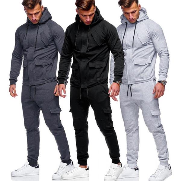 Acheter Coton Hommes Sportwear Ensemble 2019 Nouveau Survêtement Casual Homme Survêtement Printemps Automne Survêtement Homme Ensembles Jogging