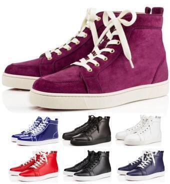 Ace Cuir Véritable Fond Rouge Créateurs Chaussures Casual Baskets 2019 Noir Orlato Appartements Haut Haut Party Lovers Dames Hommes Femmes Hombre Chaussures