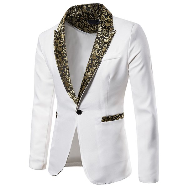 White Slim Fit Blazer Men 2019 Brand Floral Jacquard One Button Suit Blazer Jacket Men Party Wedding Groom Tuxedo Blazers Hombre