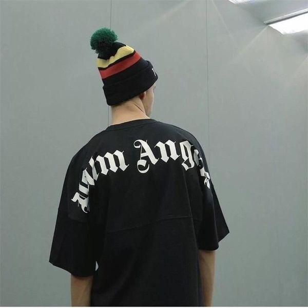 18FW Palm Angels T-Shirt Mode Neue Muster Schwarz Weiß Oversize Logo Rundhals Kurzarm T Männer Und Frauen T-shirt HFWPTX231