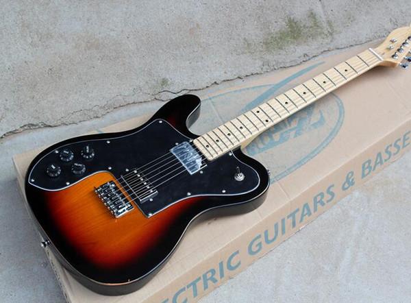 Frete grátis Personalizado de Fábrica Canhoto Guitarra Elétrica com Preto Pickguard, HH Pickups, Maple Fretboard, Hardwares Chrome, oferta personalizado