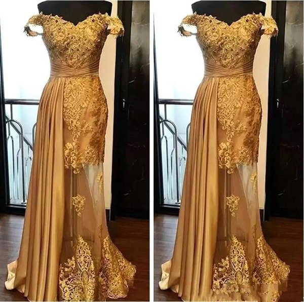 Off the houlder gold evening dre e 2019 real image new weep train beaded applique mermaid lace pageant formal party prom gown e270
