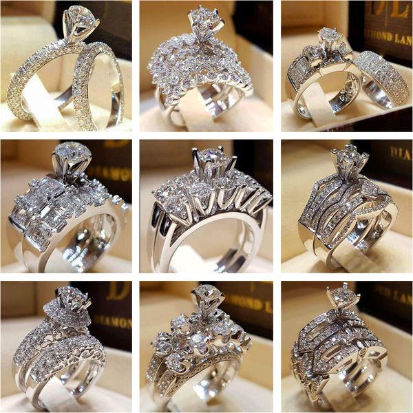 Nova Moda Anéis De Prata Anéis De Cristal De Diamante Cubic Zirconia Anéis Homens Mulheres Anel De Casamento Set Designer de Jóias Presente Do Amante