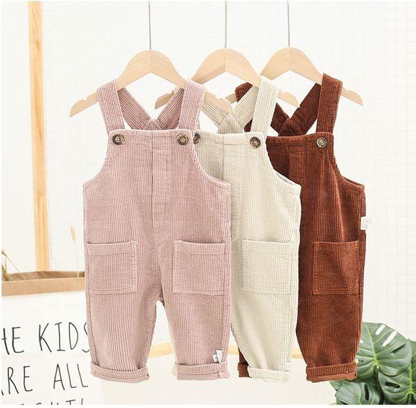 Bébé Enfants Pantalons Automne Corduroy Jarretière 2019 enfants Boutique Vêtements coréenne 1-4T Petits Garçons Filles Salopette Solid Color