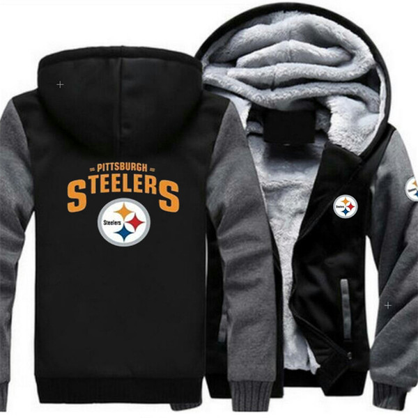 free shipping 3151d 2c5a3 2018 Hot Sale Pittsburgh Steelers Team Sweatshirt Warm Fleece Thicken  Jacket Zipper Coat Hoodie & Sweatshirts Up To Date Jackets From Sport_good,  ...