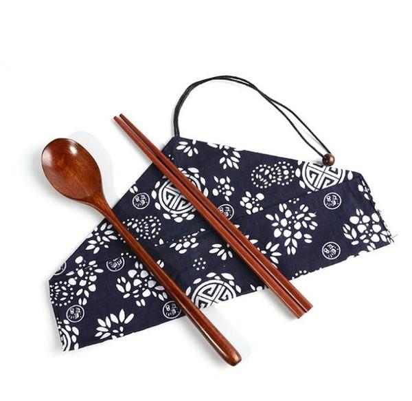 Portable Travel Outdoor Natural Wooden Chop sticks Tea spoons Tableware Dinnerware Set Vintage Bag Dining Sushi Tool 2pcs/set with cloth bag