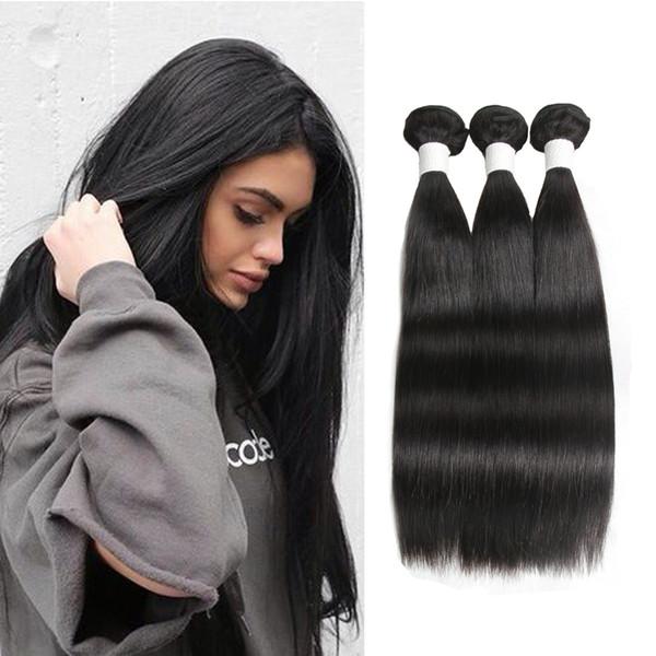 Modista Tejido para cabello recto 3 paquetes 100% sin procesar Extensiones de cabello humano virginal brasileño Tratar con longitudes mixtas negro natural
