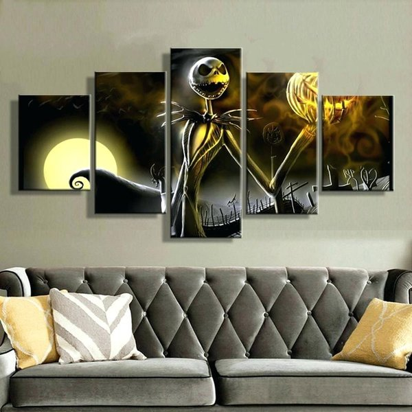 Halloween Nightmare Before Christmas 5 Pieces HD Canvas Posters Prints Wall Art Painting Pictures For Living Room Modern Home Decoration