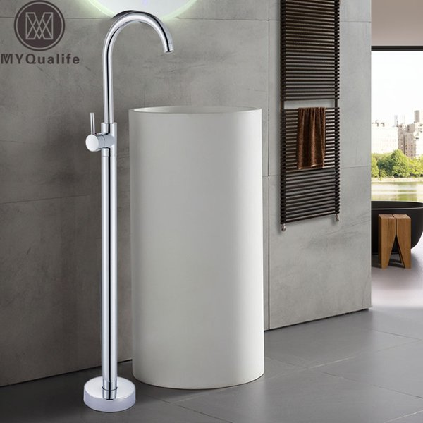 Bright Chrome Floor Stand Faucet Single Handle Bathroom Sink Mixer Tap Hot Cold Water Brass Golden Basin Vanity Sink Tap