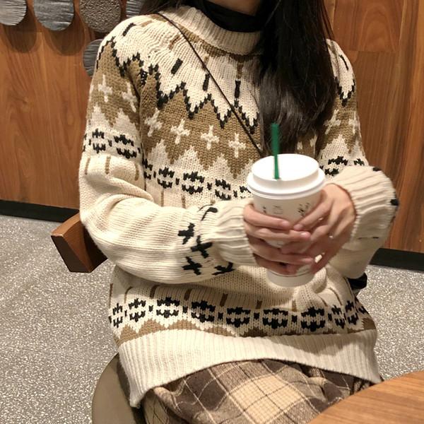 Jumper Femmes Cute Kawaii Ins Retro Contraste vrac Couleur coréenne épais pull en tricot Lady Harajuku Pulls Chic pour les femmes