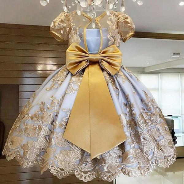 Fiore vestono per il matrimonio dei bambini di sfera della principessa della festa di compleanno Tutu Bow ADOLESCENTE scherza i vestiti 4 Frocks formali 8 10 anni Bambini