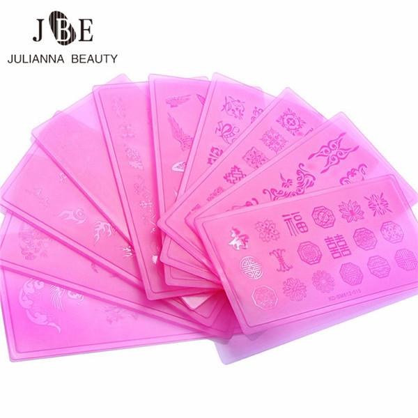 10 Teile / los Nail art Stamper Durchsichtigen Kunststoff Flache Spitze Transfer Quadrat Spitze Stanzen Druck Maniküre DIY Nagel Werkzeuge