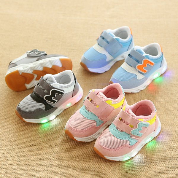 hook&loop m new style baby shoes patchwork led glowing shinning boys girls shoes footwear sports leisure baby first walkers