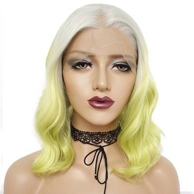 Moda peluca delantera del cordón de fibra química peluca diadema verde degradado del pelo de las señoras pelo corto y rizado peluca