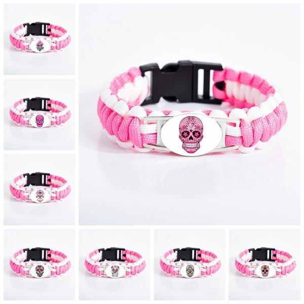 Мексиканский сахарный череп браслеты для женщин стекло кабошон цветок скелет очарование розовый браслет мода день мертвых подарок ювелирных изделий