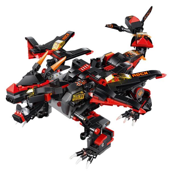 433 pz / set assemblaggio fai da te 2.4g 4 canali telecomando dinosauro veicolo demone war dragon truck motore elettrico giocattolo per i bambini