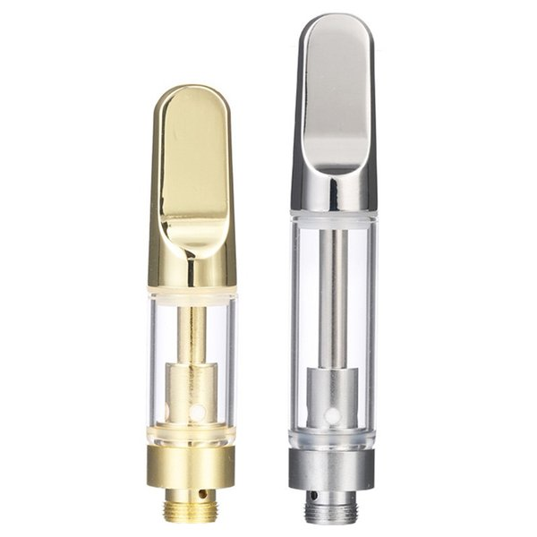 Metal Mouthpiece Vape Pen Cartridge Ceramic Coil 0.5ML 1.0ML Glass Vape Carts Vaporizer CO2 Oil Atomizer TH205 for 510 Pen