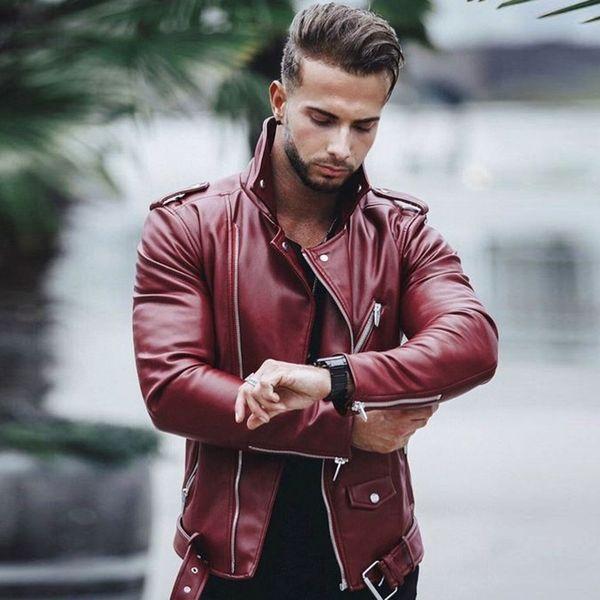 2019 erkek Motosiklet PU Deri Ceketler Erkek Deri Sonbahar Kış Slim Fit Ceketler Erkek Iş Spor Rahat Mont