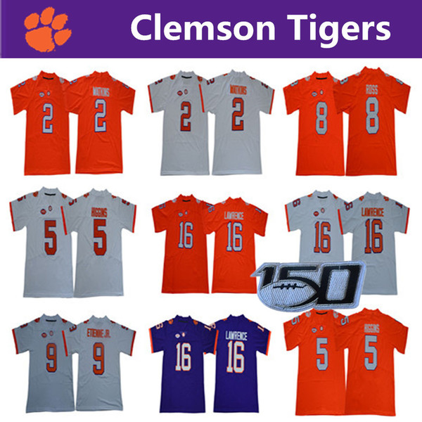 NCAA Clemson Tigers 16 Trevor Lawrence 8 Justyn Ross Travis Etienne Jr. Deshaun Watson Hunter Renfrow 5 Tee Higgins College Football Jersey