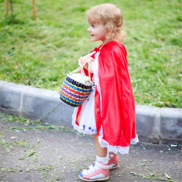 ostumes Accessories Cosplay Costumes Carnival Little Red Riding Hood Costume Girls Anime Cosplay Baby Girl Lace Cape Kids PartyFancy Dres...