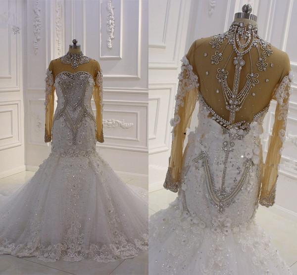 2020 Abito da sposa a sirena in rilievo di cristallo a collo alto di lusso vintage Fiori di pizzo 3D vintage Arabia Saudita Plus Size Abito da sposa Immagini reali